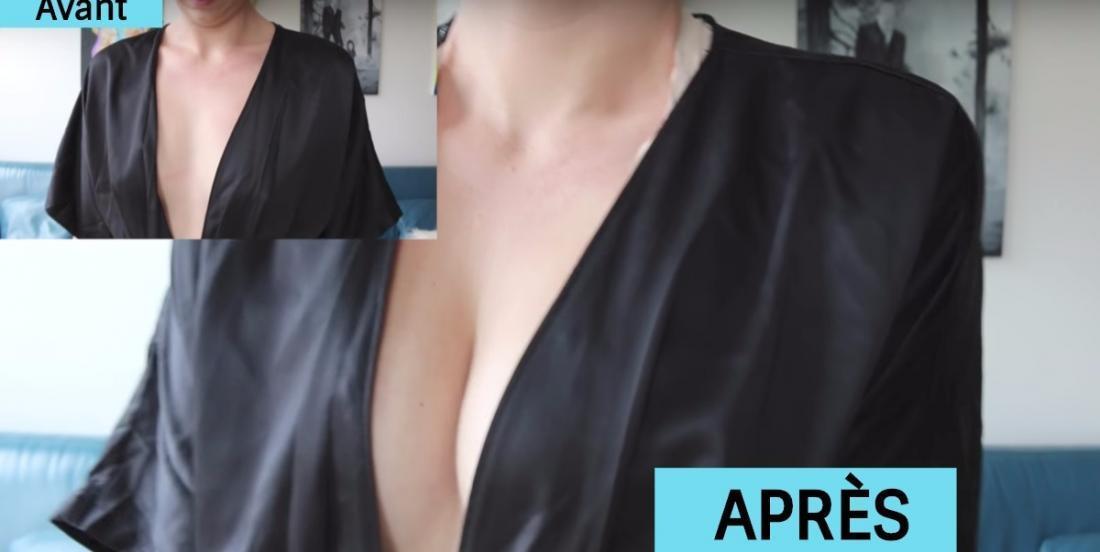 Elle partage son truc pour avoir des seins soient bien galbés dans sa robe plongeante