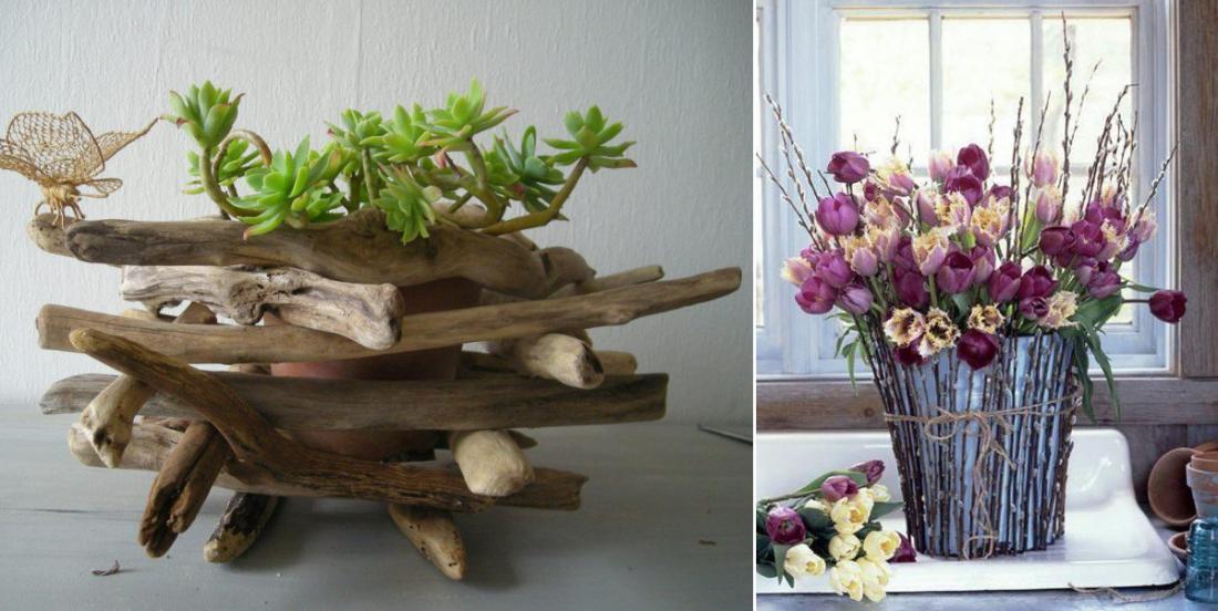 14 belles façons de fabriquer des cache-pots avec des brindilles ou du bois flotté