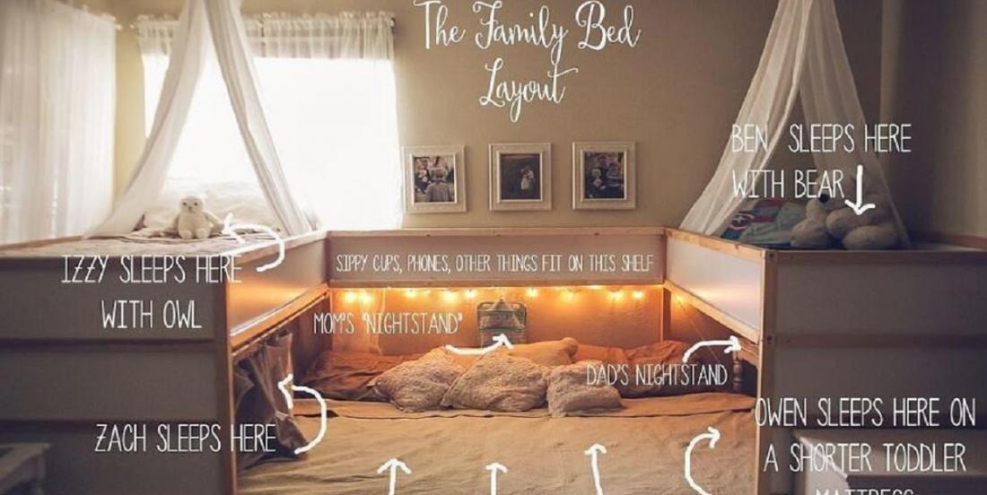 À l'aide de meubles Ikea, une maman crée le parfait lit cododo pour une famille nombreuse