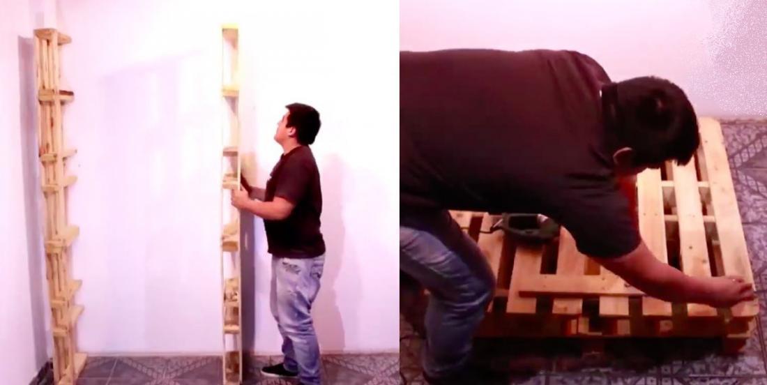 À l'aide de palettes de bois, il construit une garde-robe parfaite pour sa conjointe, sans dépenser un sous!