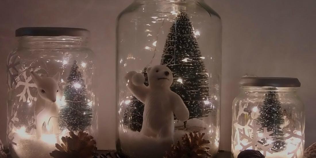 Comment bricoler un joli globe de neige lumineux en récupérant un pot de verre!