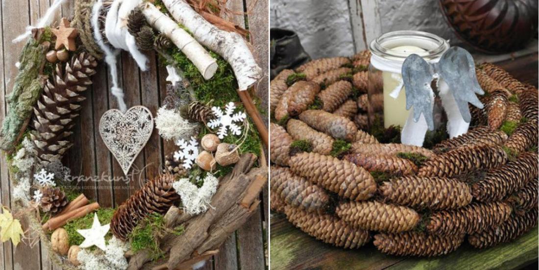 Utilisez des matériaux de la nature pour fabriquez l'un de ces 8 modèles de couronnes de Noël!