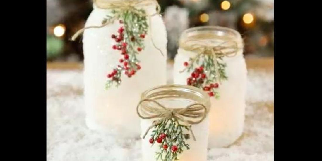 Créez de magnifiques chandeliers enneigés avec des pots Mason!
