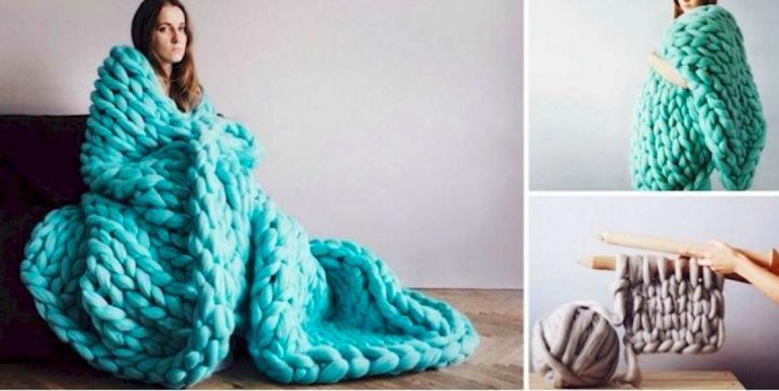 Comment tricoter cette énorme couverture sans aiguilles à tricoter!