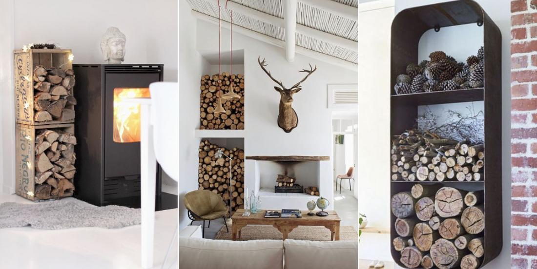 16 façons créatives de ranger votre bois sans gâcher votre décor
