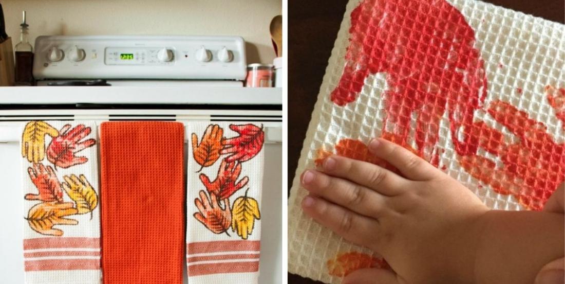 Un projet d'automne pour les tout-petits: un essuie-mains avec des empreintes feuillues