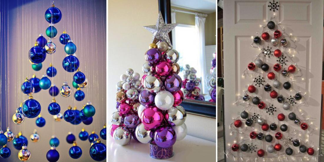10 façons de réaliser un sapin de Noël juste avec des boules
