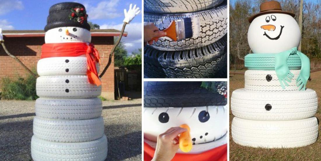 12 bonshommes de neige faits de pneus usagés! Ressortez-le à chaque année!