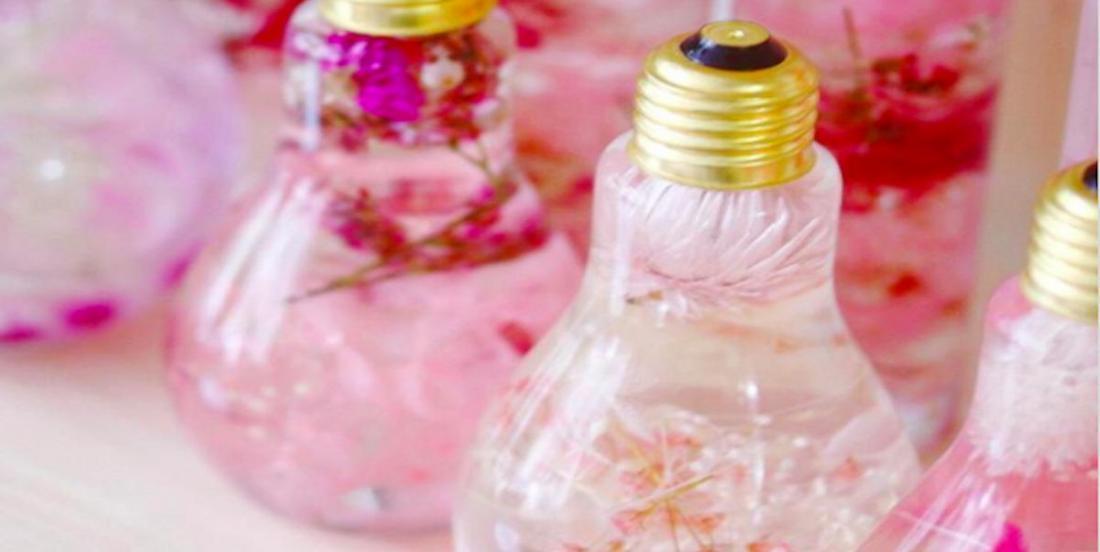 Ces ampoules recyclées en vases font ressortir toute la splendeur des ces belles fleurs!