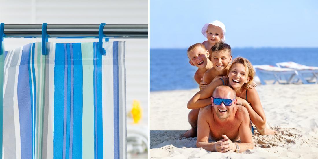 Cette maman apporte un rideau de douche à la plage et je ferai comme elle dès maintenant