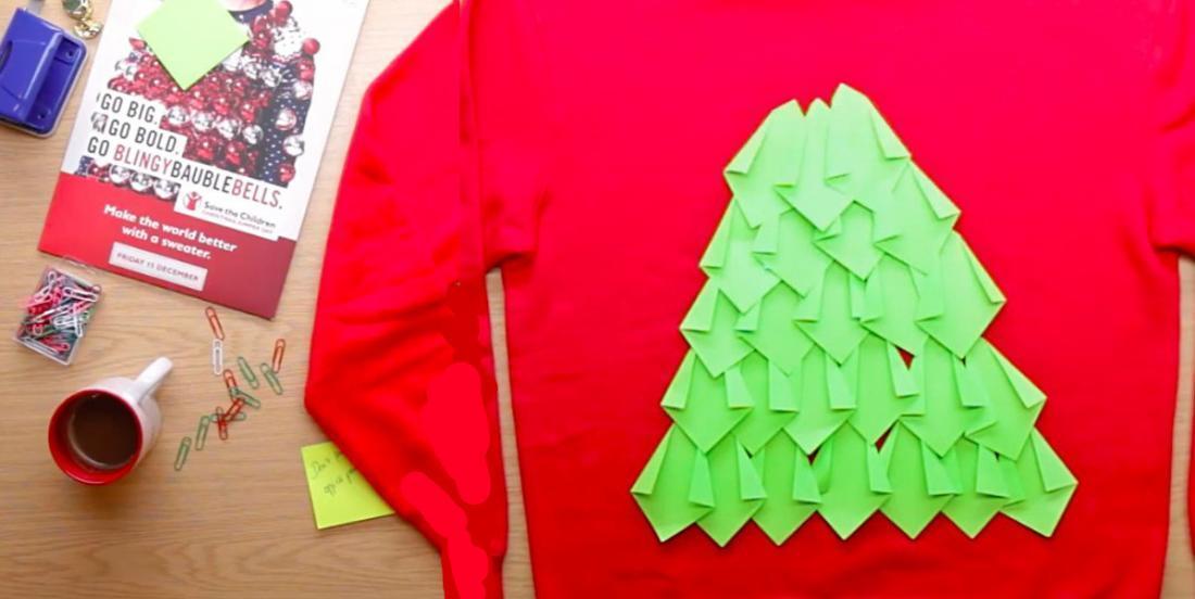 Confectionnez le plus remarquable tricot laid en utilisant des accessoires de bureau