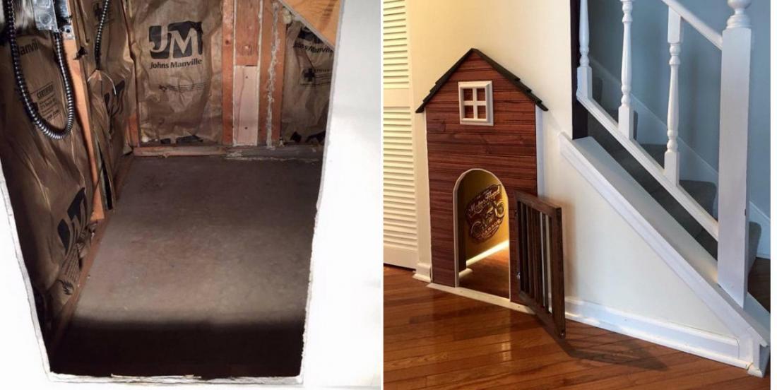 Un maître construit la maison parfaite pour son chien, sous l'escalier de la maison!