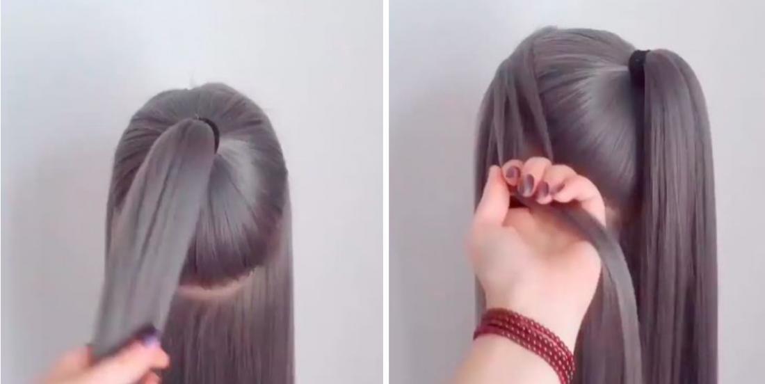 Elle se fait une queue de cheval et prend quelques mèches de cheveux afin de créer une coiffure digne d'un salon