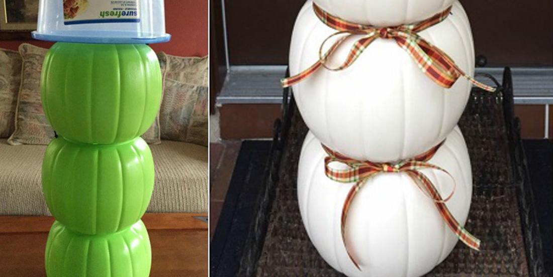 Récupérez les citrouilles d'Halloween en plastique pour en faire une belle décoration d'hiver!