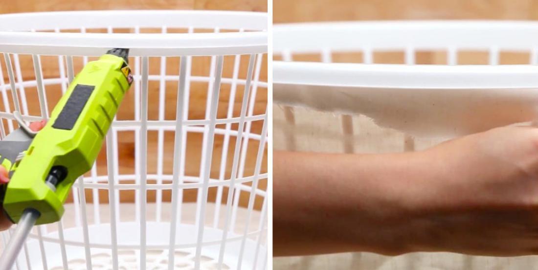 Il est possible de transformer un panier à linge en un accessoire pratique en utilisant très peu de matériel.
