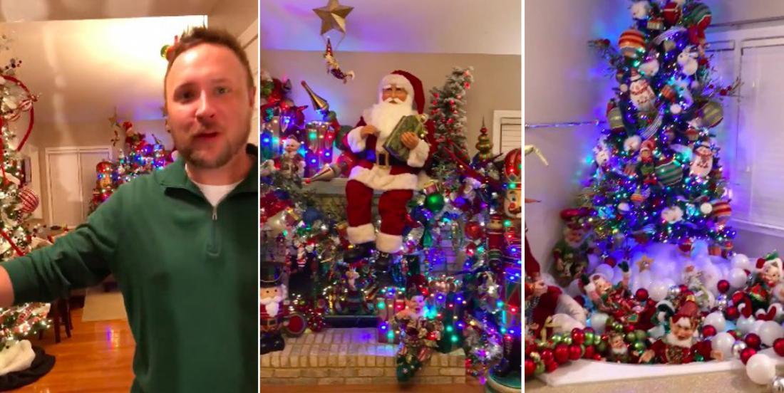 À chaque année il décore toutes les pièces de sa maison pour Noël et il nous la fait visiter