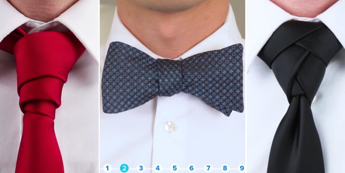 9 façons différentes de porter la cravate ou le noeud papillon!