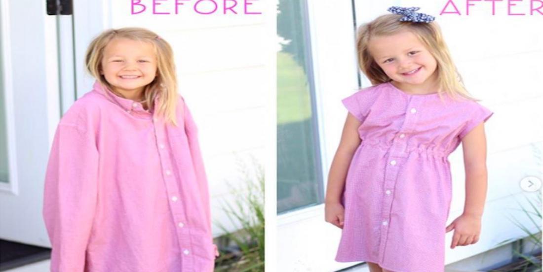 Cette mère utilise les vieilles chemises de son mari pour faire des robes à ses filles